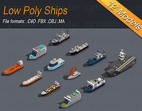 3D model Low poly Ships pack 01