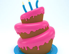 3D model Birthday cake 04