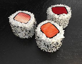 Hosomaki 3 fish sushi 3D model
