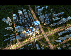 animated night cityscape model