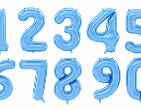 3D model Balloon Numbers Blue Color