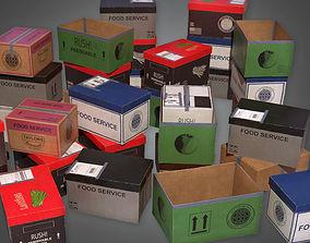 3D asset Boxes Food Shipment 03 KTC - PBR Game Ready