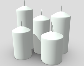 3D model low-poly Candle Set