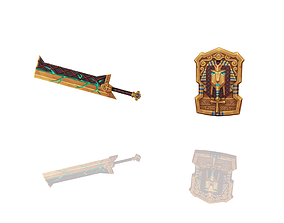 Pharaoh Relic - Sword and Shield 3D model realtime