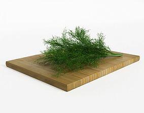 3D Fresh Dill On Chopping Block