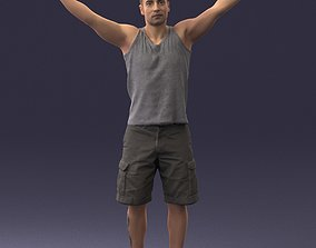 Man in shorts with his hands up 0225 3D model