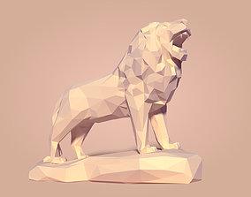 Low Poly Cartoon Lion Statue 3D model