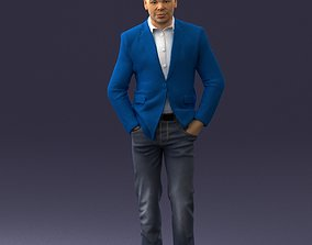 3D model Man in brown shoes and jeans 0377