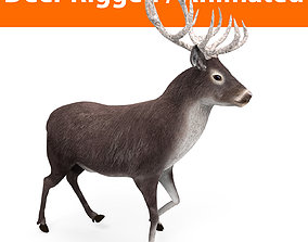 animated low-poly 3D deer rigged animated black