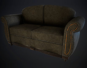 brown 3D asset game-ready Dirty sofa