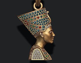 Nefertiti pendant with gems 3D print model