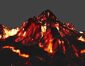 lava 3D model game-ready volcano