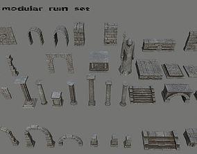 3D asset old ruin set