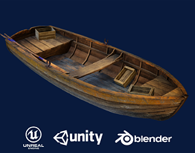 Wooden Boat 3D model game-ready PBR