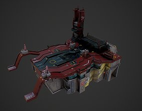 3D asset Low poly sci fi detailed space port building