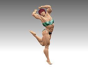 Bodybuilder bikini sculpture in a stand poses 3D print