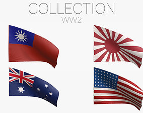 World War II Flags - Pacific and Asia 3D model