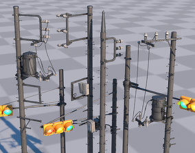 3D asset Tokyo Poles and Traffic Lights - Textures - UV 3