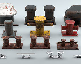 3D asset Used Sea Bollards for ship and yachts and 1
