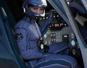 3D asset Airwolf Female Pilot
