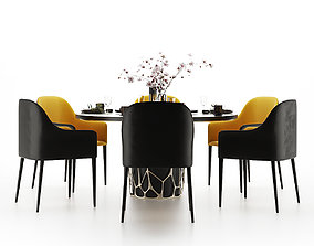 3D Modern dining table and chair round