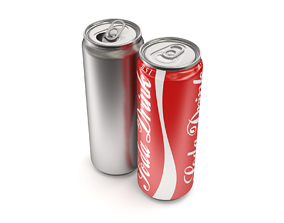 3D Open and closed drink can