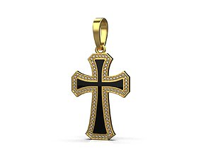 3D printable model Cross with gems and enamel 4