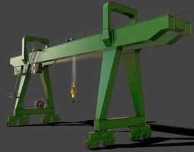 3D model PBR Double Girder Gantry Crane V2 - Green
