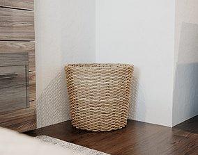 3D model Detailed Straw Rattan Braided Basket 3 sizes