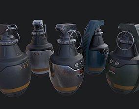 Sci-Fi Military Frag Grenade v1 PBR 3D asset