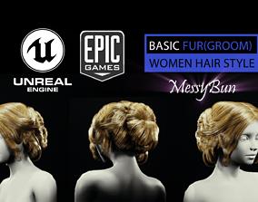 Basic Fur MessyBun 3D asset