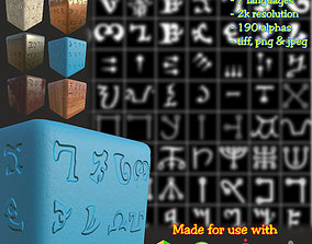 3D Ancient Magical Scripts set Height map Alpha Brushes
