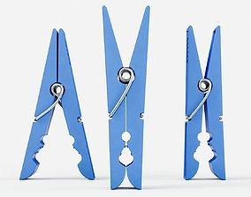 Plastic Clothespin 3 3D model