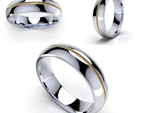 Wedding Set Band Ring For Men 3D Model -CC107