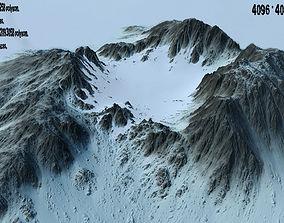 3D asset game-ready Snow Mountain