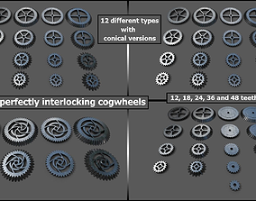 3D asset Cogwheel Collection