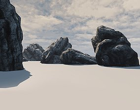 Stone boulder 3D asset low-poly
