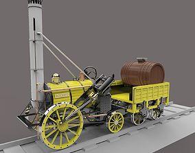 Stephensons Rocket Steam Locomotive 3D