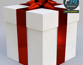 Gift box with star ribbon bow 3D model