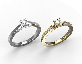 a couple of classic engagement rings 3D print model