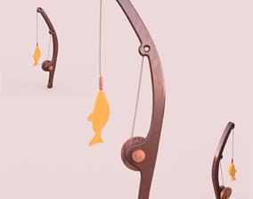 3D printable model fishing rod