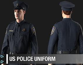 US Police Uniform Marvelous Designer project 3D model