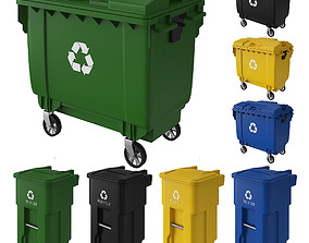 Trash can and dumpster 3D model