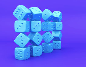 low-poly 3D Plain Gaming Dice