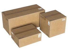 Cardboard boxes 3 pcs low poly 3D model realtime