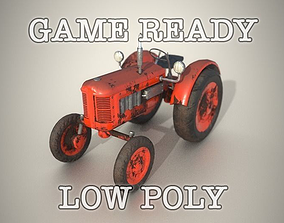 land 3D model Old Tractor Game Ready Low Poly