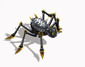 Animated Funny Cartoon Insect Grey Spider 3D asset
