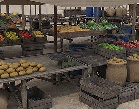 Low Poly Medieval Market 3D model