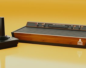 Atari 2600 and joystick 3D model PBR
