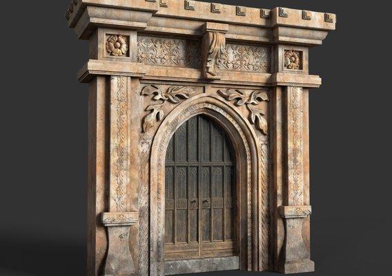 Gothic door with arch